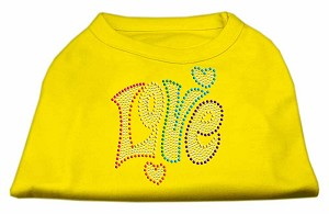 Technicolor Love Rhinestone Pet Shirt Yellow XS (8)